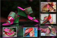 Pink Wedding Wedges  @http://www.maalpani.com/  http://www.maalpani.com/buy-online-footwear/wedding-footwear.html?color=72