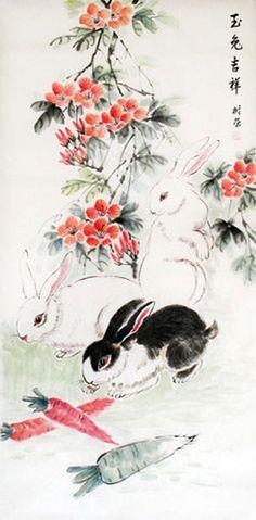 rabbit painting | Chinese Rabbit Painting 0 4361003, 50cm x 100cm(19〃 x 39〃)