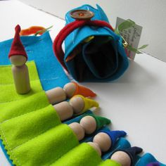 Waldorf toys  - Travelling roll-up rainbow gnome - FeeVertelaine - MADE TO ORDER -. $28.50, via Etsy.