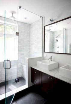 small bathroom tips: * clear glass shower * shower tile up to the ceiling * same floor tile inside and outside the shower Window In Shower, Shower Doors, Shower Stalls, Shower Seat, Bath Shower, Master Shower, Large Shower, Bath Window, Bathroom Showers