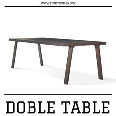 The Doble table features a solid wooden top which is held up by two graceful solid wooden support structures in parallel. The straight top has openings on either side for two decorative braces. Available in various sizes in your choice of solid walnut, solid oak or solid ash. The walnut tables are finished with matte lacquer. Solid oak tables are finished in either matt blank lacquer or white oiled. And the solid ash tables are finished with either a carbon (black) or white stain. Dining Rooms, Dining Bench, Solid Oak Table, Walnut Table, White Stain, Wooden Tops, Carbon Black, Braces, Ash