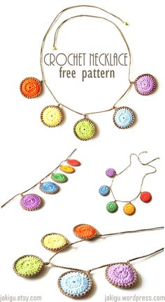 Necklaces Diy colourful-circles-crochet-necklace-pdf-pattern-by-jakigu - Free crochet pattern for a colorful circle necklace - a quick and simple project suitable even for a novice crocheter. Crochet Necklace Pattern, Crochet Jewelry Patterns, Crochet Bracelet, Crochet Accessories, Crochet Designs, Diy Necklace Patterns, Knitted Necklace, Loom Patterns, Crochet Gratis