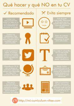 Qué hacer y no hacer en tu Curriculum Vitae #infografia #infographic #empleo