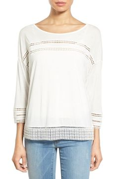 Caslon® Lace Detail Three-Quarter Sleeve Top (Regular & Petite) available at #Nordstrom