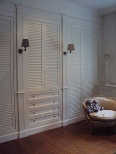 MY kind of closet organization.  No wasted space. A dressing room in France by Lefevre Interiors