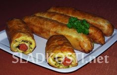 Listové záviny s debrecínkami Hot Dog Buns, Hot Dogs, Bread, Ethnic Recipes, Food, Brot, Essen, Baking, Meals