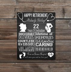 Retirement - Leaving Gift - Midwife - Nurse- Medical-Personalised -typography -chalkboard -wall- home decor- personalised-DIY Printable