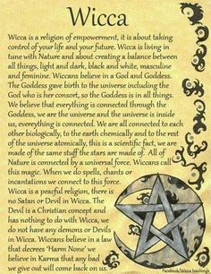 I chose this because it describes Wicca in a summary. I see Wicca as a form of feminism because of religious freedom, based on ones own interpretation. I think about how women used religion to as a way to deal with sexism in their everyday lives without o Wiccan Spell Book, Wiccan Witch, Wicca Witchcraft, Witch Spell, Magick Book, Witch Board, Tarot Spreads, Practical Magic, Magic Spells
