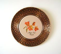 Canada Souvenir Plate Hammered Copper Wall Hanging Decorative Plate Featuring Beautiful Autumn Maple Leaves on a Ceramic Center