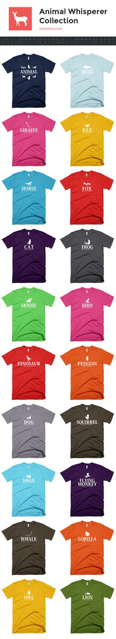 100% cotton tees. 30+ colors. More animals to choose from at zooettes.com.