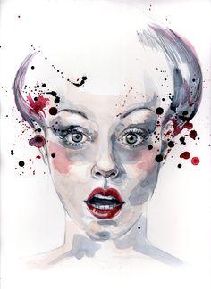 watercolor portrait by Chloé Thoraud, via Behance