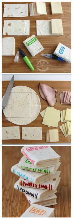 These tiny little books are so cute and so easy to make and will be a perfect healthy snack to bring to your kid's classroom, but they can be personalized for any occasion. Add the name of your child's favorite book for a book themed birthday party or just for lunch.   School Book Sandwiches You'll Need: soft flour tortillas white cheese slices slices of deli meat, like turkey or ham mayonnaise food coloring markers