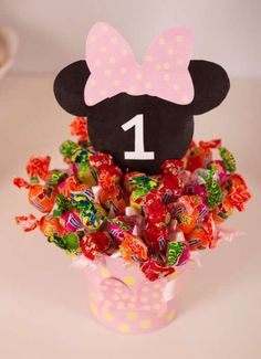 Candy centerpiece at a Mickey Mouse & Minnie Mouse birthday party! See more party planning ideas at CatchMyParty.com!
