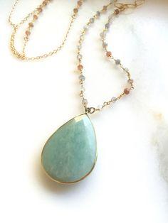Long Gold Aqua Stone Necklace. Layering Necklace. Aquamarine Peach Stone…