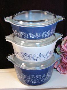 Vintage Pyrex Blue White Colonial Mist Casserole by havetohaveit, $74.99. Circa 1960s