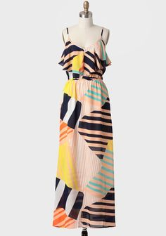 Out Of Town Geometric Print Maxi Dress