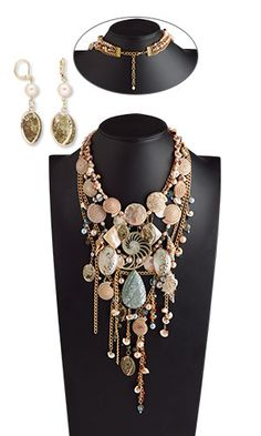 Bib-Style Necklace and Earring Set with Shell Beads and Focals, Swarovski Crystal and Metal Chain