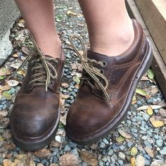 trendy brown low doc martens!!! size 7 1/2 low brown docs!!! sooo cute and slighty worn with some scuffs but totally wearable still!! the laces are very worn but easily replaceable!!!! i would love to trade for these in any color in an 8-8 1/2!!! Urban Outfitters Shoes