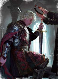 Aegon the Conqueror crowned by the High Septon.- artist:  Michael Komarck