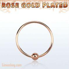 Aro cerrado de 10mm con bola de 2mm. Material: Plata bañada en oro rosa. Grosor: 0,6mm (ultra fino: no deja marca!). Ideal nariz, labio, oreja. Gran calidad