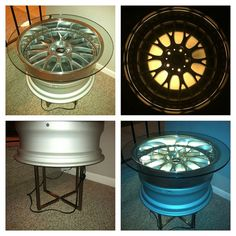 Wheel rim lighted table - man cave