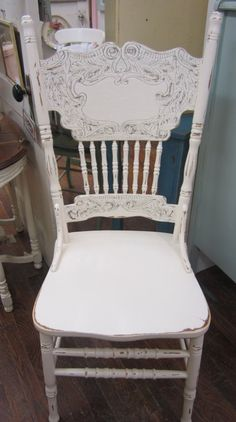 Shabby Chic White Pressed Back Chair Carved Boho by rosesnmygarden, $235.00