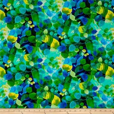 Forest Panel by Timeless Treasures-Birds-Leaves-Blues-Greens