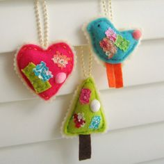 Hand Sewn Felt and Fabric Scrap Ornaments by tracyBdesigns on Etsy