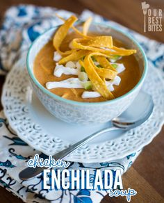 Chicken Enchilada Soup from Our Best Bites--Hearty and perfect for cold winter nights! Also includes slow cooker instructions!