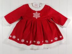 $22.50 HANNA ANDERSSON LITTLE RED DRESS CHRISTMAS SNOWFLAKE 60 3 6 Months NWT NEW