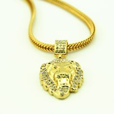 Bling Lion Head Pendant Necklace Vintage Gold Plated Hiphop Chain For Men/Women Jewelry Gift