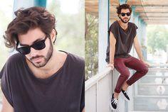 H&M T Shirt, H&M Leather Pants, Vans Shoes