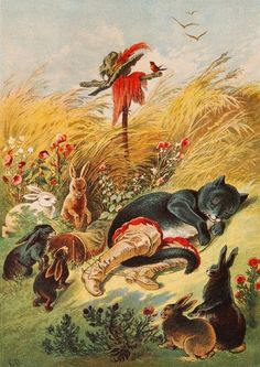 goldenbookillustration:  Puss in Boots.  illustration by Carl Offterdinger (1829 -1889) a German painter and illustrator.