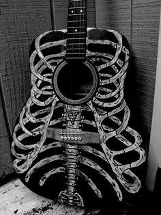 www.RockTheFOut.com skeleton guitar, rock, metal, heavy metal, art, illustration, decoration, decorated, custom, hand made, acoustic, design