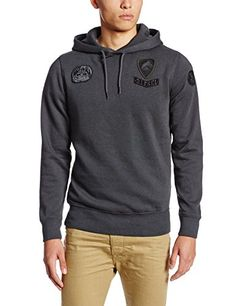 Diesel Men's S-Amina Sweat-Shirt, Dark/Grey, Medium. Pullover hoodie sweatshirt featuring ribbed trim on sleeves and hem, patches on chest and sleeve, and attached hood with drawstring. Military style pullover, Diesel patches, over dyed cotton.