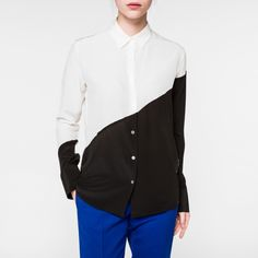 Paul Smith White And Black Panelled Silk Shirt