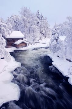 Winter at Myllykoski falls and old mill in Kitka river, Finnish Lapland Places Around The World, The Places Youll Go, Places To Go, Around The Worlds, Beautiful World, Beautiful Places, I Love Snow, Winter Scenery, Snowy Day
