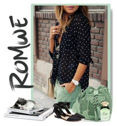 """""""Romwe black polka dot with buttons Blouse"""" by lorrainekeenan ❤ liked on Polyvore featuring Balenciaga, Sam Edelman and Dolce&Gabbana"""