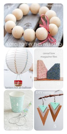 1. Wooden Beaded Trivet DIYfrom Victoria Brikho 2. Paper Lantern Light Shade hot air balloon DIY project, made using decorative fabric or washi tape and some twine and fabric! This project is from Bored and Crafty 3. Upcycle your old Cereal Boxes and turn them into magazine files from The Pink Doormat 4. A very …