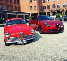 Nice couple: Alfa Romeo Giulietta Sprint from 1956 and brand new Giulietta Veloce With 240 PS. #alfa #alfaromeo #alfaromeogiulietta #carsofinstagram #auto #car #caroftheday #carporn #autovideoreview #alfisti @alfa_romeo_de @thealfacollection @alfaromeoofficial