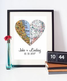 Personalized Map Art Engagement Gift Unique by DefineDesign11