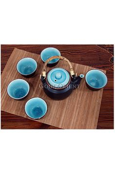 Japanese Style Sky Ceramic Tea Set (inside different color than outside, kind of cool)