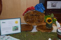 welcome table for cowboy theme.  Decor was made from a real cut tree.  Charity theme was forest conservation.