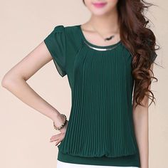 Mulheres verão blusa de manga sólidos Chiffon Lace blusa blusas vestido verde(China (Mainland))