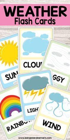 Free Printable Weather Flash Cards Weather Activities Preschool, Teaching Weather, Preschool Science, Preschool Learning, Classroom Activities, Activities For Kids, Science Classroom, Science Chemistry, Science Experiments
