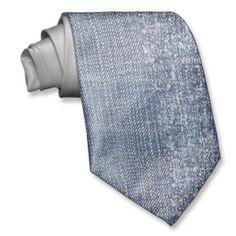 Worn Denim Jeans-Look funny Neck ties
