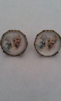 Boucles d'oreilles, puces d'oreilles, cabochon, romantique, visage, jeune femme @ boutique-sylvie-créative : Boucles d'oreille par boutique-sylvie-creative