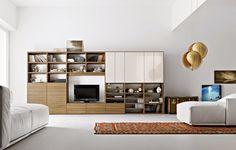 conjunto salón madera y blanco