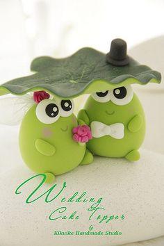 Frog wedding cake topper