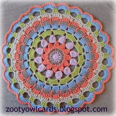 free crochet mandala pattern - Strawberries and Cream